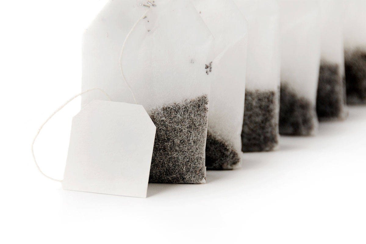 line of propped up tea bags
