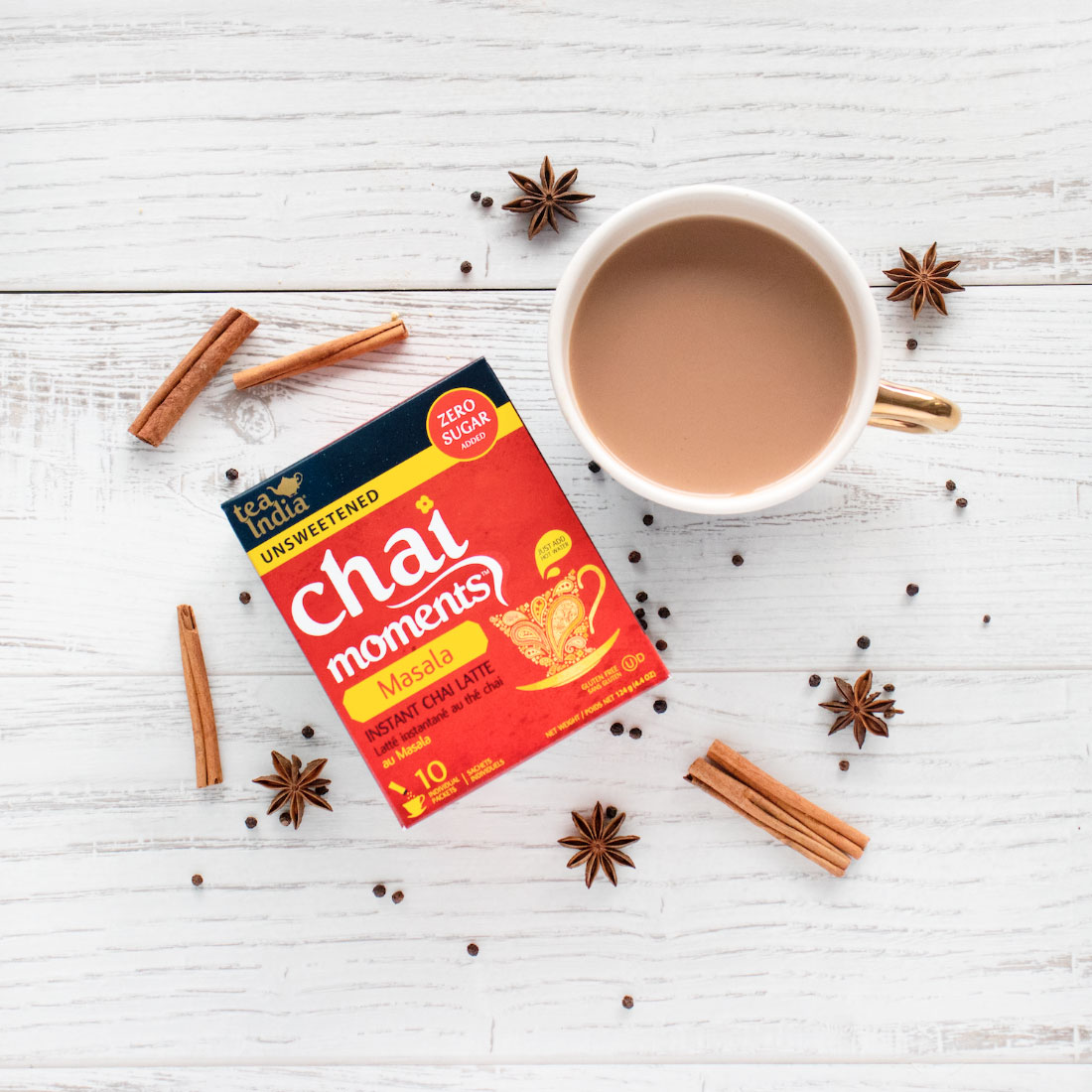 mug and box of Tea India Chai Moments Masala tea with herbs and spices
