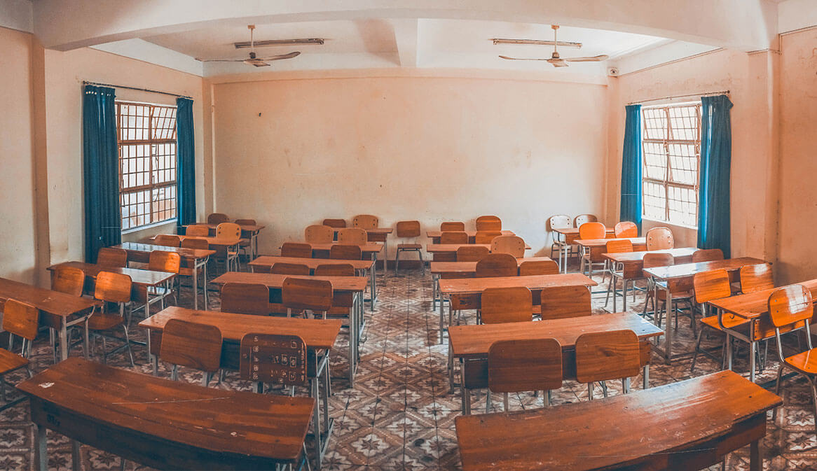 a clean classroom in school in Vietnam