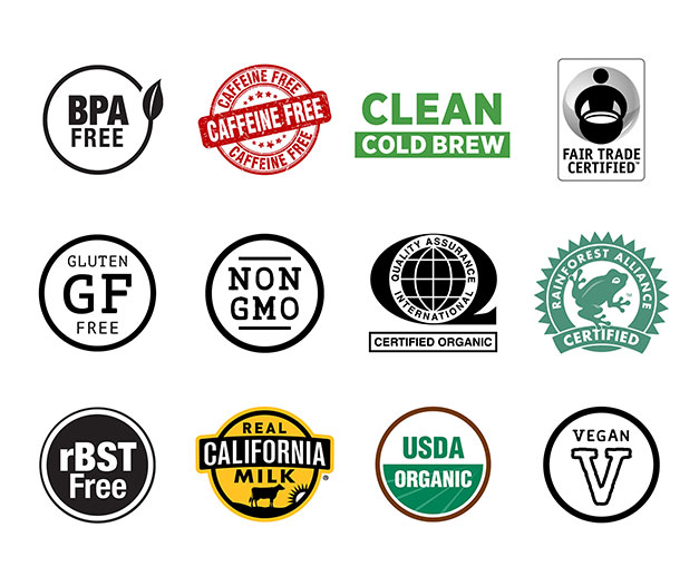 collage of BPA free, caffein free, clean cold brew, fair trade certified, gluten free, non GMO, certified organic, Rainforest Alliance certified, rBST free, real California milk, USDA organic, Vegan certification badges