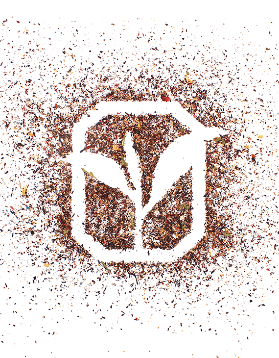 Harris Tea corporate logo decoratively created with tea leaves and blends