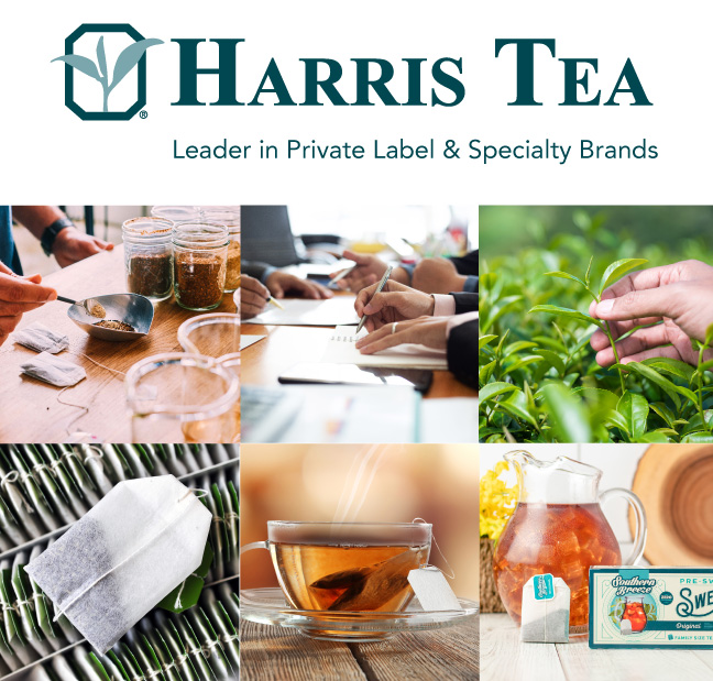 Collage of Harris Tea logo, office work, tea leaves, blending, tea bags and hot and iced tea